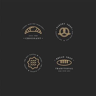 Conjunto de modelos de design e emblemas - ícone de bolinho, rosquinha e leve ao forno para padaria. doceria.