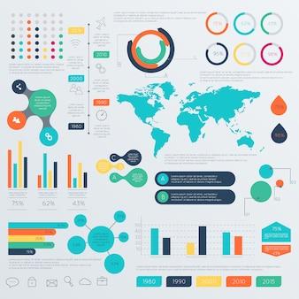 Conjunto de modelos de design infográfico timeline.