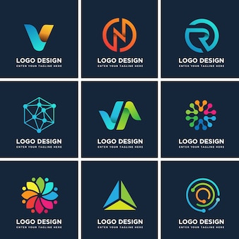 Conjunto de modelos de design moderno de logotipo