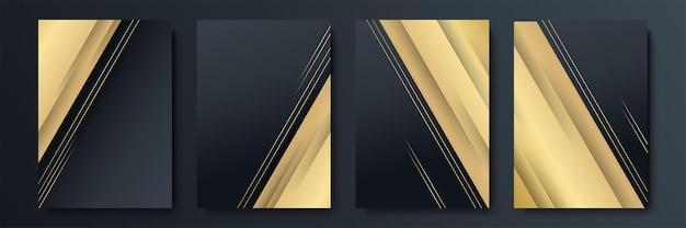 Conjunto de modelos de design preto e dourado para capa, brochuras, folhetos, tecnologias móveis, aplicativos e serviços online, emblemas tipográficos, logotipo, banners. planos de fundo modernos abstratos