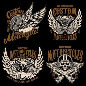 Conjunto de modelos de emblema de piloto com motocicleta