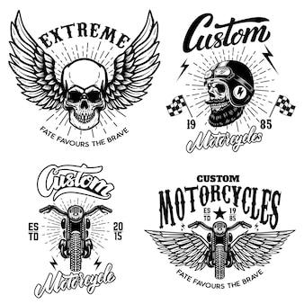 Conjunto de modelos de emblema de piloto com motor de motocicleta