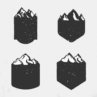 Conjunto de modelos de emblemas em branco de montanha