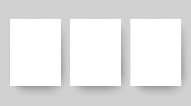 Conjunto de modelos de folha de papel branco em branco