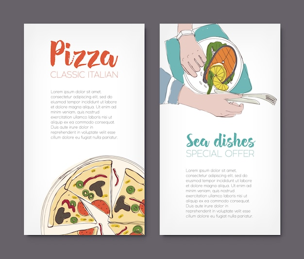 Conjunto de modelos de folheto com desenhos coloridos de pizza clássica e bife de salmão grelhado em placas e lugar para texto.