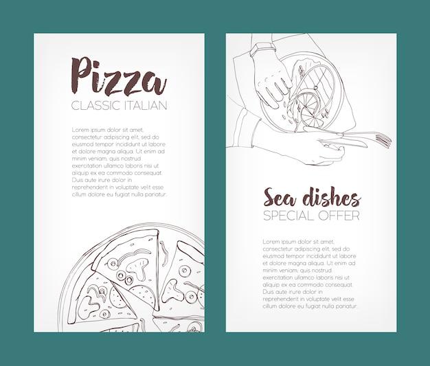 Conjunto de modelos de folheto com desenhos de contorno de pizza clássica e bife de salmão grelhado em pratos e lugar para texto. mão-extraídas ilustração para anúncio de pizzaria ou restaurante de frutos do mar.