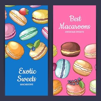 Conjunto de modelos de folheto com lugar para texto e ilustração de macaroons coloridos mão desenhada