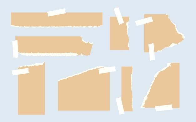 Conjunto de modelos de formas diferentes de papel ofício rasgado de página vazia rasgada com lembrete de pedaço de fita adesiva ...