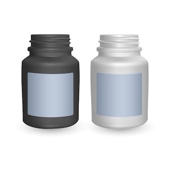 Conjunto de modelos de garrafas plásticas realistas. garrafas pretas e brancas vazias