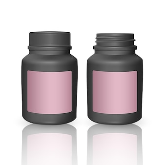 Conjunto de modelos de garrafas plásticas realistas. garrafas pretas vazias