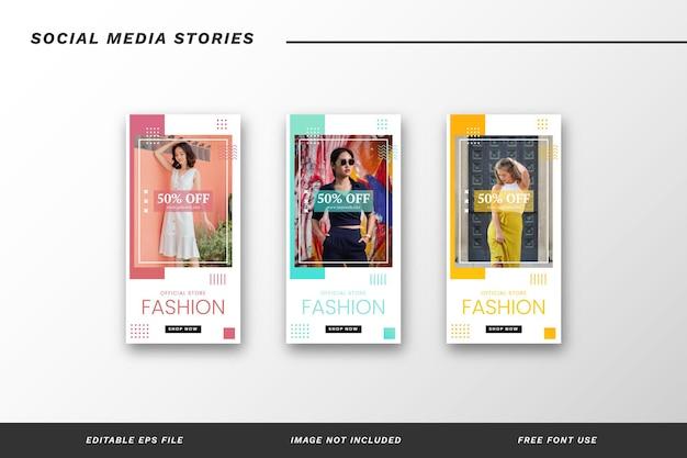 Conjunto de modelos de histórias de mídia social da moda