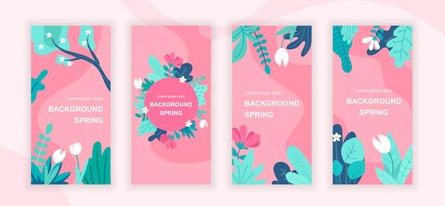Conjunto de modelos de histórias de mídia social de plantas de primavera