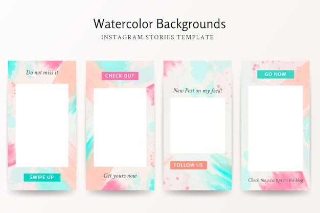 Conjunto de modelos de histórias do instagram com fundos aquarela