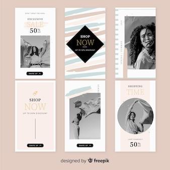 Conjunto de modelos de histórias do instagram de venda