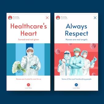 Conjunto de modelos de histórias do instagram para o dia internacional das enfermeiras
