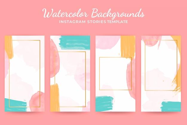 Conjunto de modelos de histórias em aquarela de fundo instagram