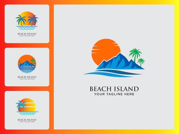 Conjunto de modelos de ícones de design de logotipo de praia e ilha