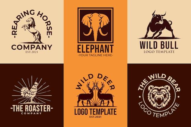 Conjunto de modelos de ícones de logotipo de animais