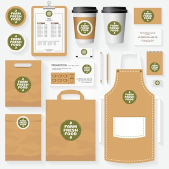 Conjunto de modelos de identidade corporativa de alimentos frescos agrícolas