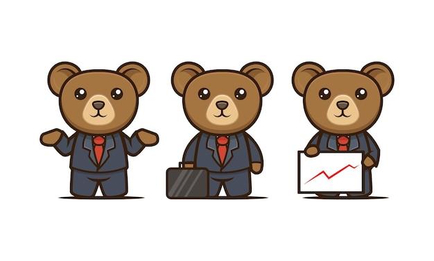 Conjunto de modelos de ilustração vetorial de design de mascote de urso bonito de negócios