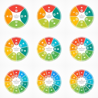 Conjunto de modelos de infográfico de círculo de gráfico de pizza