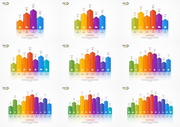 Conjunto de modelos de infográfico de gráfico de coluna com opções
