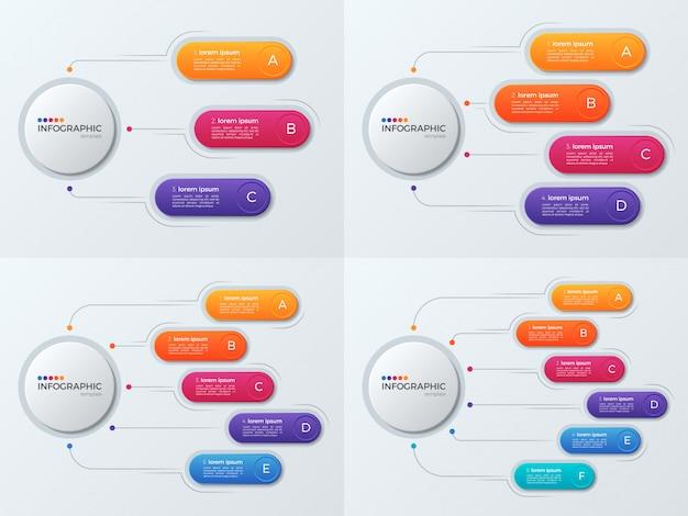 Conjunto de modelos de infográfico de negócios de apresentação com 3'6 opções