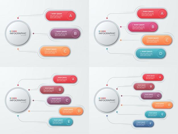 Conjunto de modelos de infográfico de negócios de apresentação com 3-6 opti