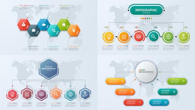 Conjunto de modelos de infográfico de negócios de apresentação com opção 6