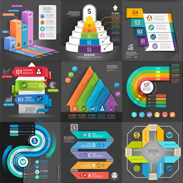 Conjunto de modelos de infográfico de negócios.