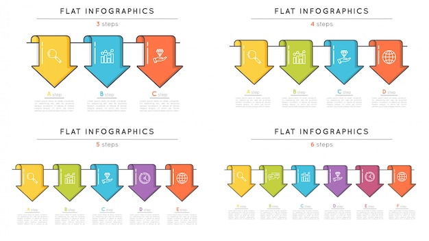 Conjunto de modelos de infográfico timeline de estilo simples com setas.