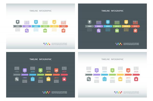 Conjunto de modelos de infográfico timeline.