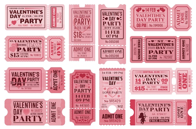 Conjunto de modelos de ingressos para o dia dos namorados