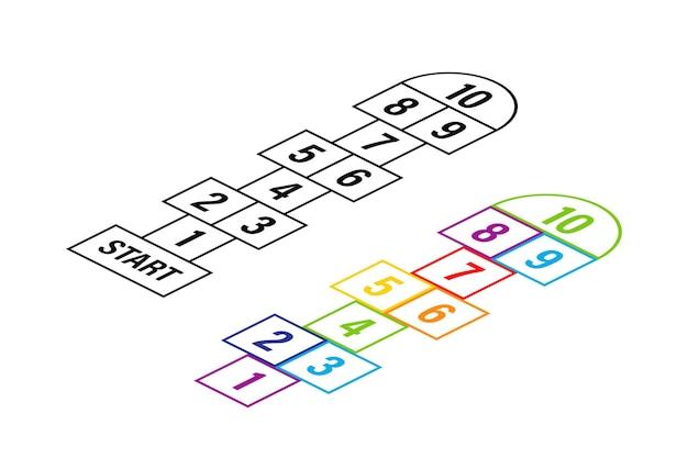 Conjunto de modelos de jogos de amarelinha infantil. ilustração de estoque vetorial
