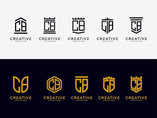 Conjunto de modelos de letras iniciais do ícone do logotipo cb