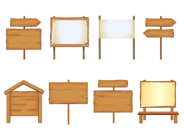 Conjunto de modelos de letreiros de madeira maquetes de pôster para texto local