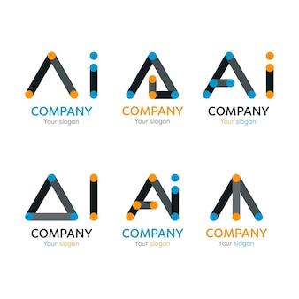 Conjunto de modelos de logotipo ai de design plano