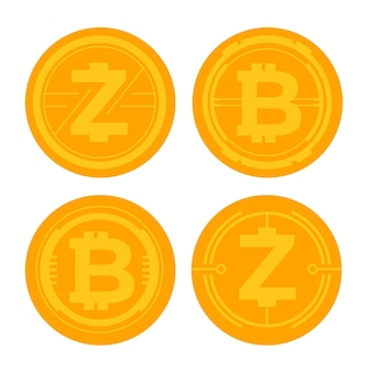 Conjunto de modelos de logotipo bitcoin de design plano