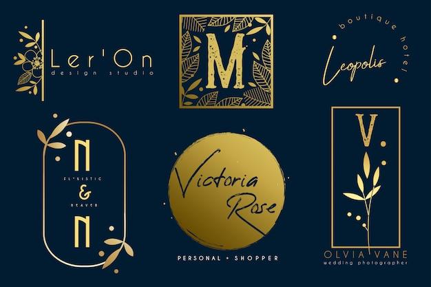 Conjunto de modelos de logotipo botânica ouro minimalista