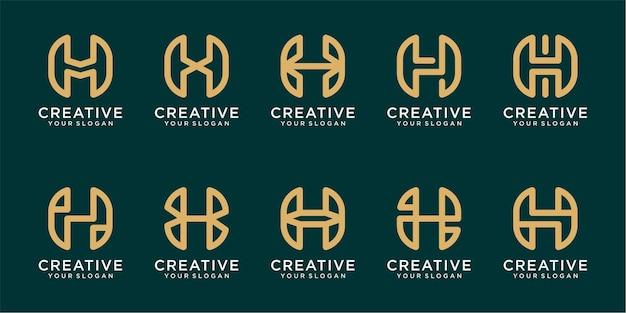 Conjunto de modelos de logotipo da letra h com linhas simples vetor premium
