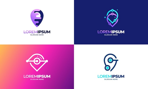 Conjunto de modelos de logotipo da point tech de designs modernos, ilustração em vetor de designs de modelo de logotipo da digital point technology