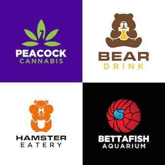 Conjunto de modelos de logotipo de animais