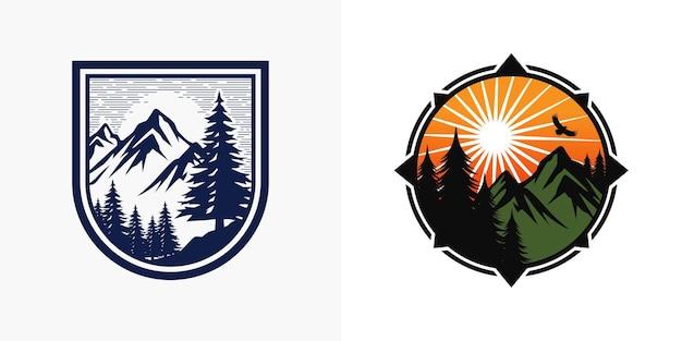 Conjunto de modelos de logotipo de aventura na montanha