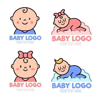Conjunto de modelos de logotipo de bebê fofo