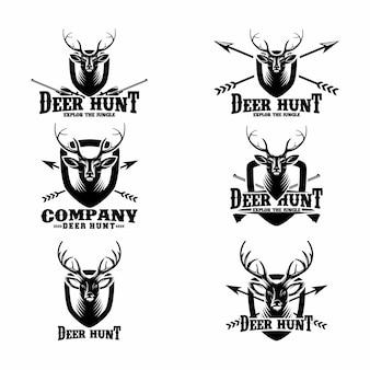 Conjunto de modelos de logotipo de caça de veados