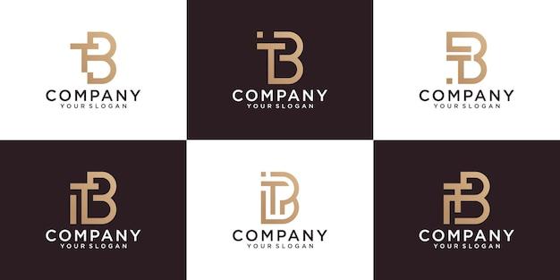 Conjunto de modelos de logotipo de carta de monograma inicial tb. com ícones dourados para negócios, consultoria, tecnologia digital