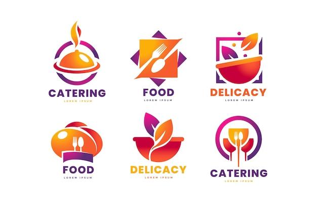 Conjunto de modelos de logotipo de catering gradiente