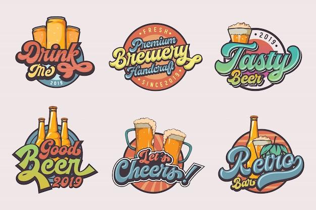 Conjunto de modelos de logotipo de cerveja vintage