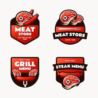 Conjunto de modelos de logotipo de churrasco gradiente