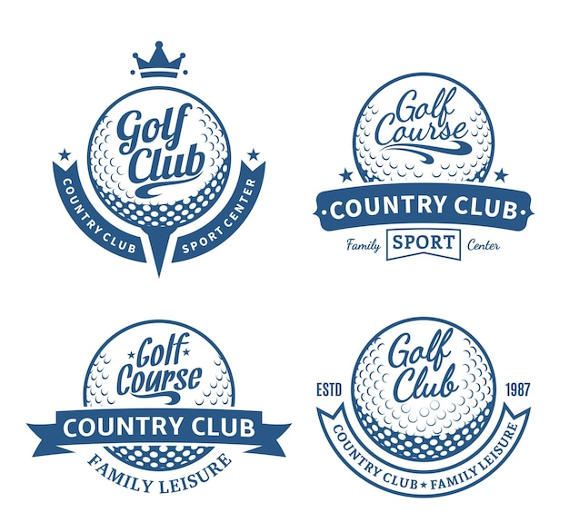 Conjunto de modelos de logotipo de clube de campo de golfe
